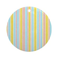 Pink, Yellow, Blue Stripe Ornament (Round)