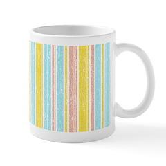 Pink, Yellow, Blue Stripe Ceramic Coffee Mug
