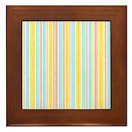 Pink, Yellow, Blue Stripe Framed Tile
