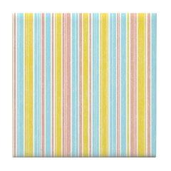 Pink, Yellow, Blue Stripe Tile Drink Coaster