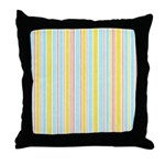 Pink, Yellow, Blue Stripe Throw Pillow