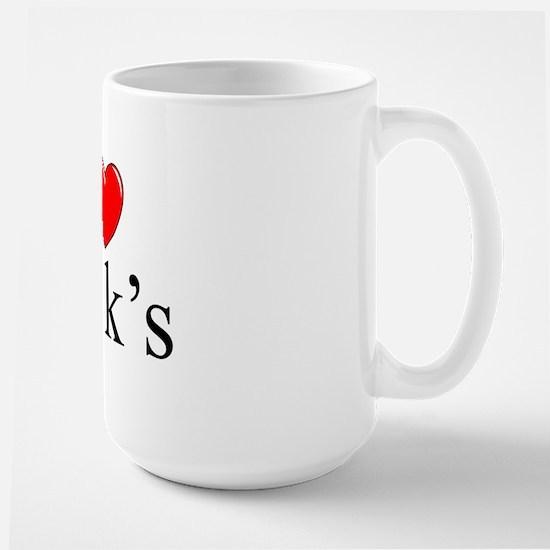 """""""I Love (Heart) 401k's"""" Large Mug"""