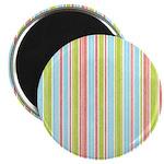 """Pink, Blue, Green Stripe 2.25"""" Magnet (10 pack)"""