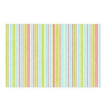 Pink, Blue, Green Stripe Postcards (Package of 8)