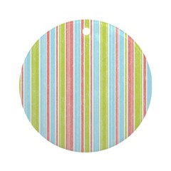 Pink, Blue, Green Stripe Ornament (Round)