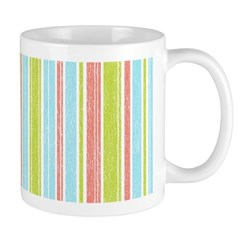 Pink, Blue, Green Stripe Ceramic Coffee Mug