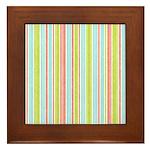 Pink, Blue, Green Stripe Framed Tile