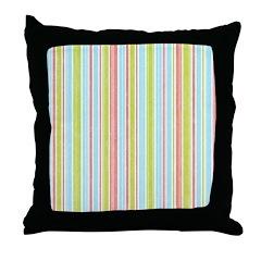 Pink, Blue, Green Stripe Throw Pillow