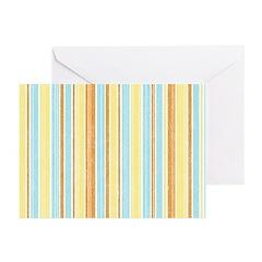 Orange, Yellow, Blue Stripe Greeting Cards (Pk of