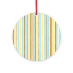 Orange, Yellow, Blue Stripe Ornament (Round)