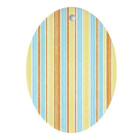 Orange, Yellow, Blue Stripe Oval Ornament