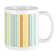 Orange, Yellow, Blue Stripe Ceramic Coffee Mug