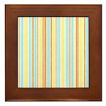 Orange, Yellow, Blue Stripe Framed Tile
