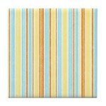Orange, Yellow, Blue Stripe Tile Drink Coaster