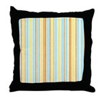 Orange, Yellow, Blue Stripe Throw Pillow