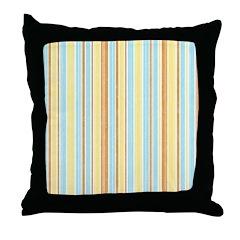 Orange, Yellow, Blue Stripe Throw Pillow