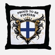 Proud to be Finnish [back print] Throw Pillow