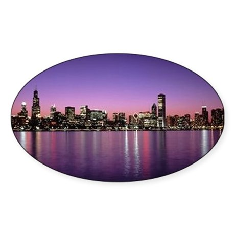 Chicago Nitetime Skyline Oval Sticker