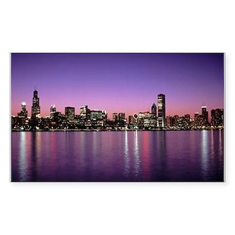 Chicago Nitetime Skyline Rectangle Sticker
