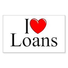 """I Love (Heart) Loans"" Rectangle Decal"