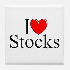 """""""I Love (Heart) Stocks"""" Tile Coaster"""