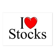 """""""I Love (Heart) Stocks"""" Postcards (Package of 8)"""
