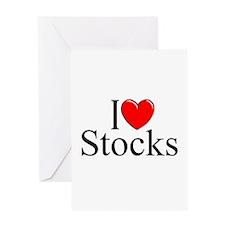"""I Love (Heart) Stocks"" Greeting Card"