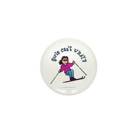 Light Snow Skier Mini Button