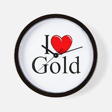"""""""I Love (Heart) Gold"""" Wall Clock"""