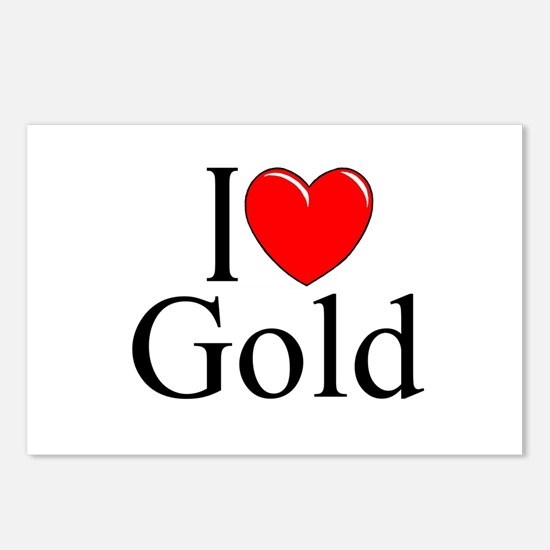 """""""I Love (Heart) Gold"""" Postcards (Package of 8)"""