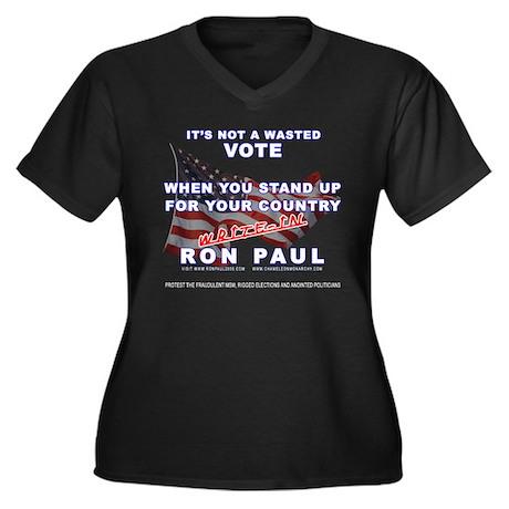 WRITE-IN RON PAUL--IT'S NOT A Women's Plus Size V-