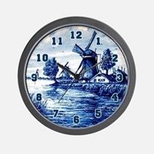 Blue and White Delft Style Wall Clock