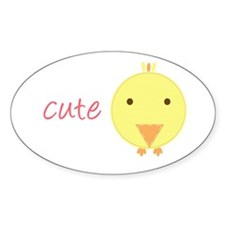 Cute Chick Oval Decal