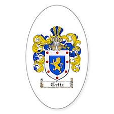Ortiz Family Crest Oval Bumper Stickers