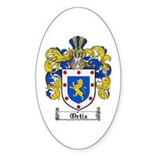 Ortiz Family Crest Oval Stickers