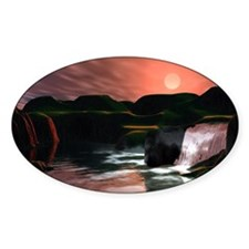 Waterfall Sunset Oval Decal