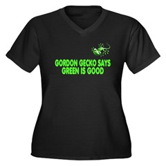 Gordon Gecko Women's Plus Size V-Neck Dark T-Shirt
