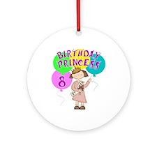 8th Birthday Princess Ornament (Round)