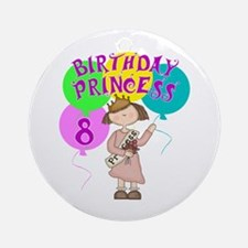 8th Birthday Princess Ornament (Round)