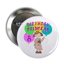 8th Birthday Princess Button