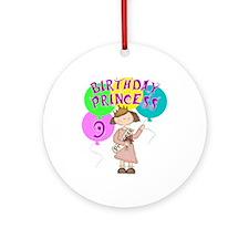 9th Birthday Princess Ornament (Round)