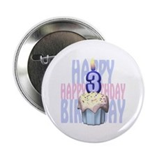 """3rd Birthday Cupcake 2.25"""" Button (10 pack)"""