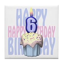 6th Birthday Cupcake Tile Coaster
