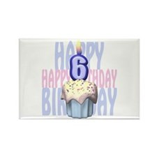 6th Birthday Cupcake Rectangle Magnet