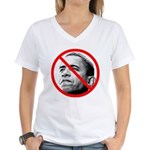 Anti Barack Obama (Front) Women's V-Neck T-Shirt