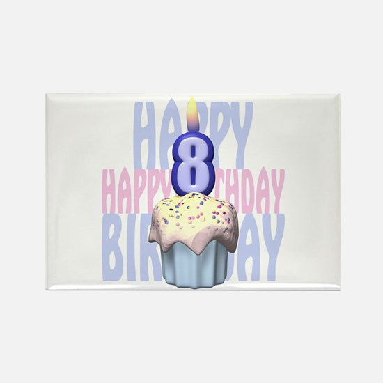 8th Birthday Cupcake Rectangle Magnet