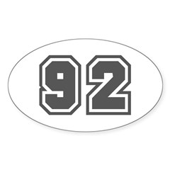 Number 92 Oval Decal