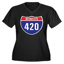 Interstate 420 Women's Plus Size V-Neck Dark T-Shi