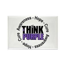 Think Purple Rectangle Magnet
