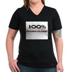 100 Percent Pharmacologist Women's V-Neck Dark T-S